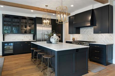 black shaker cabinets  square marble striped tiles