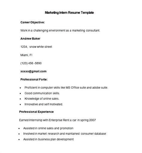 Marketing Internship Resume Format by Sle Marketing Intern Resume Template Free Sles