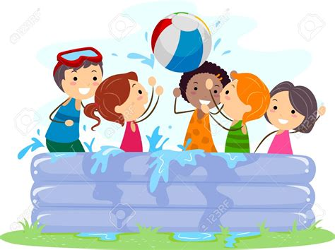 Kids Playing In Water Clipart