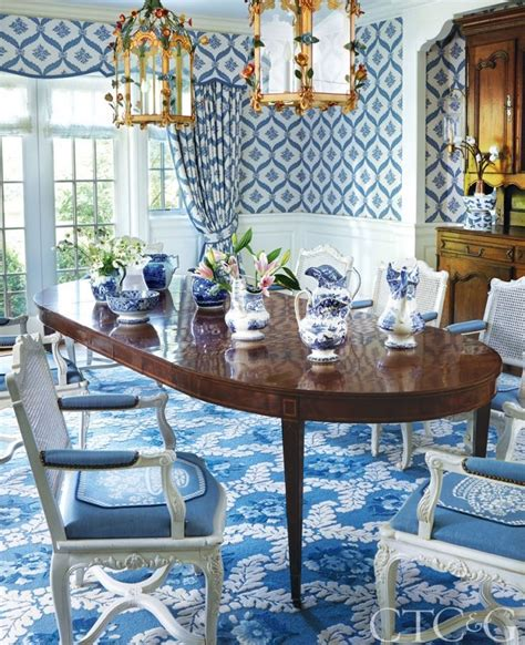 step   colorful neo colonial bursting  pattern   blue  white home beautiful houses interior decor