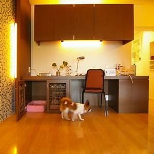 built in dog crate under desk pets pinterest desks With desk dog crate
