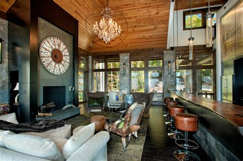 Transitional Living Room Leather Sofa by Modern Mountain Home Rustic Living Room Charlotte