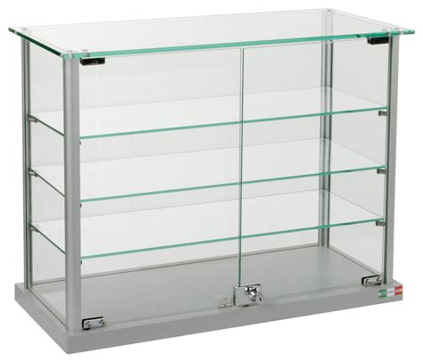 used lockable glass display cabinets countertop aluminum display cases tempered glass top