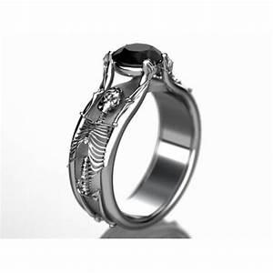 Halloween skeleton engagement ring in white gold for Skeleton wedding rings