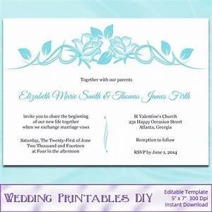 Diy printable wedding invitation templates aqua blue for Wedding invitation sample word document