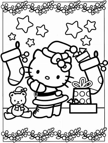 Kitty Coloring Hello Pages Christmas Worksheets Via