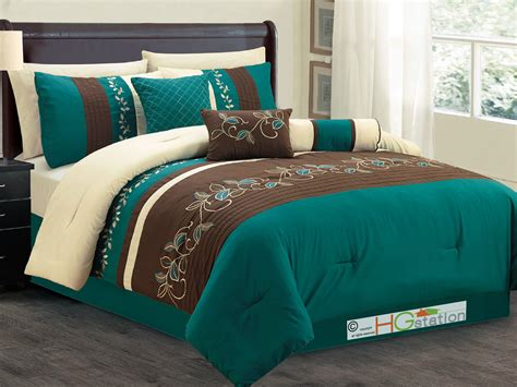 7 pc laurels leaves scroll embroidery comforter set teal
