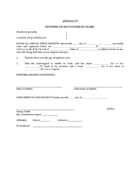 witness affidavit form usa affidavit of witness by mark not signature legal
