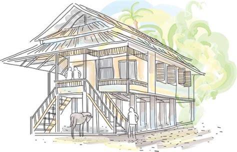 sketsa gambar rumah adat bali rumah adat indonesia