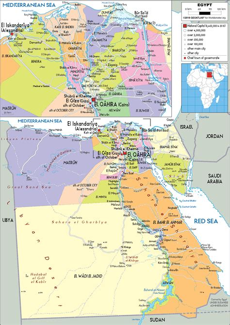 Egypt Map Political Worldometer