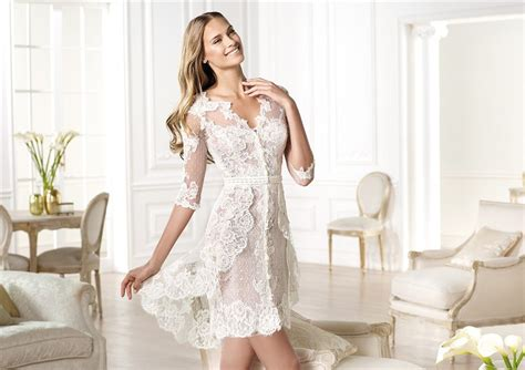 informal casual modern high  short sleeve lace wedding