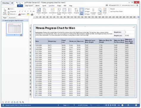 priprinter printing ms excel tables