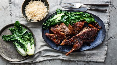 spiced honey roasted duck  rice  asian greens duck