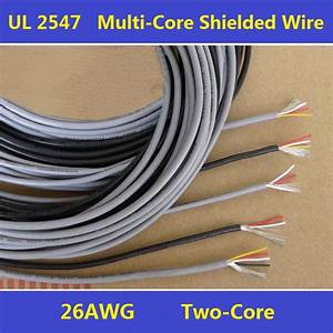 26AWG PVC Insulated 2Cores Shielded Wires Tinned Copper ...