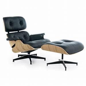 Eames Lounge Chair Replica : eames style lounge chair and ottoman black leather oak ~ Michelbontemps.com Haus und Dekorationen