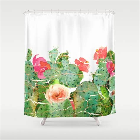 Cactus Shower Curtain - scratched cactus shower curtain by clemm society6