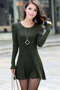 army green puff sleeve braided ribbed sweater dress