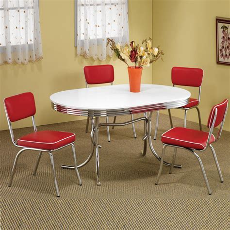 Retro 1950's Oval Table Red Black Cushion Chair 5 PC