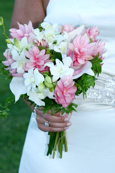 pink  white tropical hand tied bouquet st lucia beach
