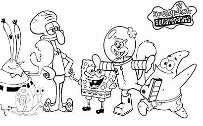 Spongebob Coloring Pages Characters Activity Clipart Via