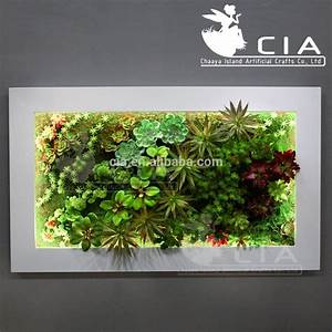 Vertical wall decor artificial plants arrangement mixed