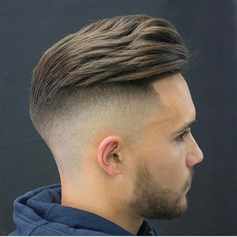 Men's Slightly Wavy Undercut Pompadour with Fade