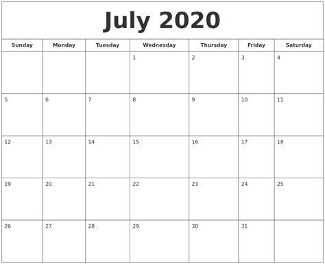 july  printable calendar