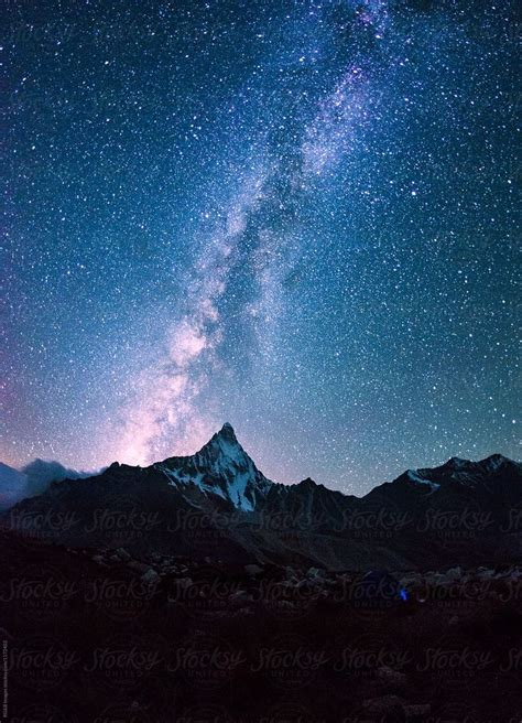Milky Way On A Night Sky Over The Mountains Download This