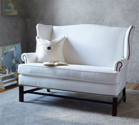 Pottery Barn Settee by Thatcher Upholstered Settee Pottery Barn