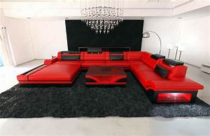 U Sofa Xxl : design sectional sofa mezzo xxl with led lights red black ~ A.2002-acura-tl-radio.info Haus und Dekorationen