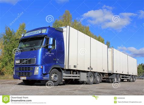 volvo trailer truck blue volvo truck with full trailer editorial stock photo