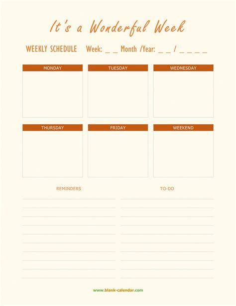 weekly schedule planner templates word excel