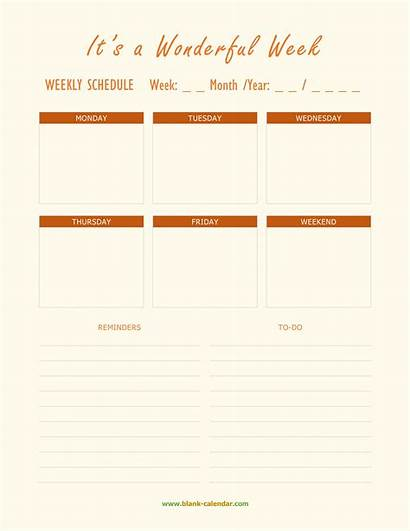 Planner Weekly Schedule Pdf Blank Calendar Templates