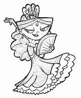 Flamenco Coloring Dancer Deviantart Spanish Sketch Orig06 Template Flamencas Guardado Desde sketch template