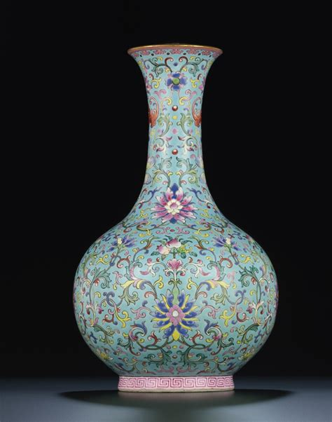 Vase S by A Turquoise Ground Famille Bottle Vase