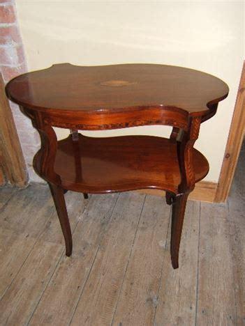 edwardian serpentine  tier inlaid tea table antique