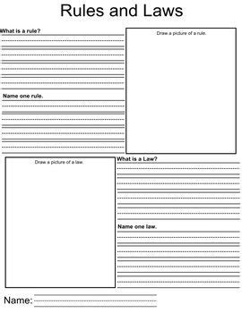 A Worksheet For Students To Describe What Laws And Rules Are And A Place To Draw Pictures To