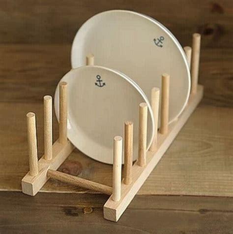 kitchen dish plate rack holder stand wooden wood plates drying storage shelf  ebay