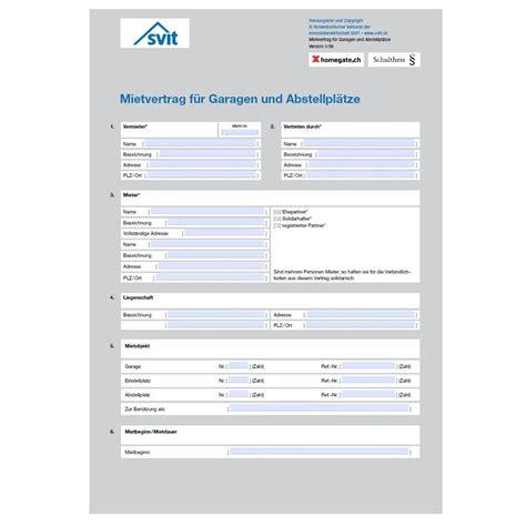 Mietvertrag Für Garagen Und Abstellplätze (pdf) Homegate