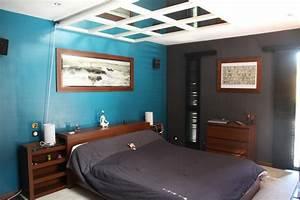 deco chambre bleu et marron With carrelage adhesif salle de bain avec eclairage led lumiere bleue