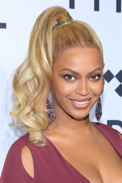 ponytail hairstyles beyonce hair hairstyle curly pony tidal ponytails carpet side hottest suit getty pouted 1020