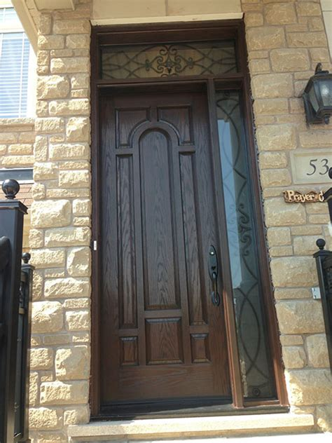 front entry door fiberglass woodgrain  panel door
