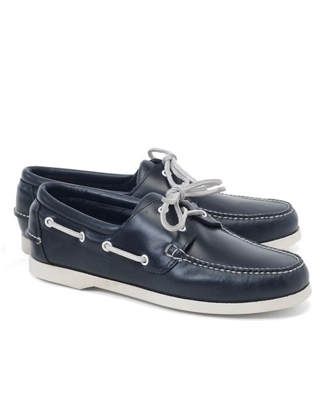 Brooks Brothers Boat Shoes by Brooks Brothers Leather Boat Shoes In Blue For Men Lyst