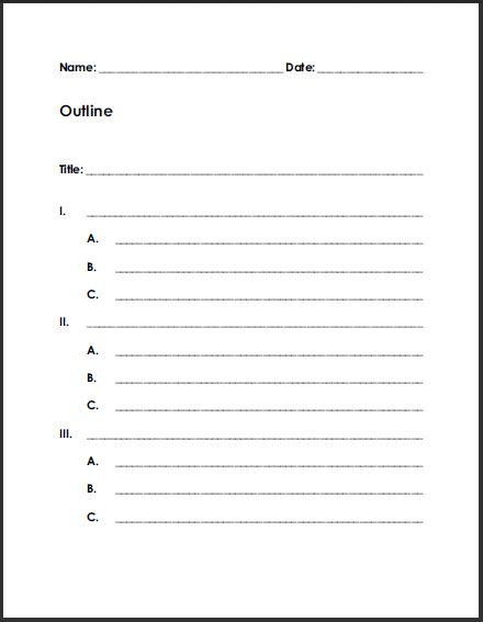 free printable blank outline for writing summaries or
