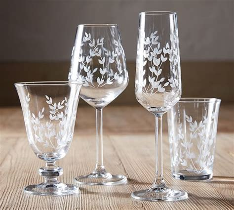 etched tumbler glass set   pottery barn