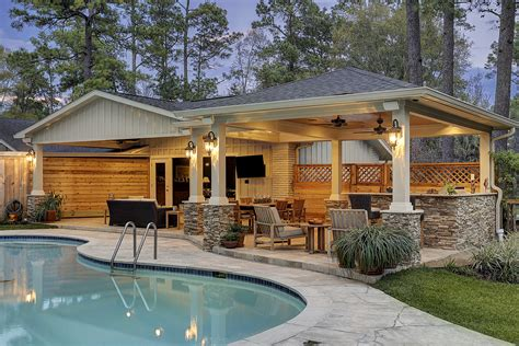 Outdoor Patio Area by Patio Cover And Kitchen In Hunters Creek Memorial Area