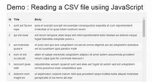 Reading a CSV File Using jQuery and Display into HTML ...