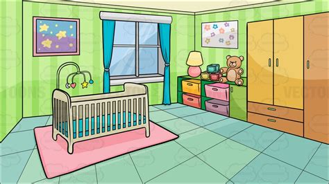cartoon clipart a bedroom of a baby background