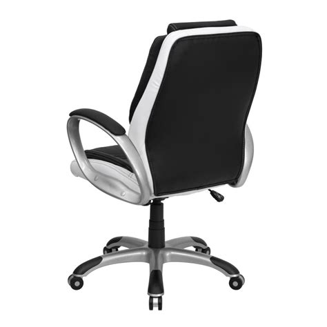 mid back black and white leather executive swivel office chair