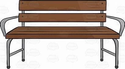 Bench Clipart Wooden Cartoon Arms Legs Silver
